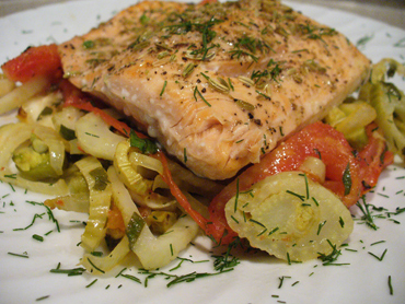 Fennel Crusted Salmon with Roasted Fennel