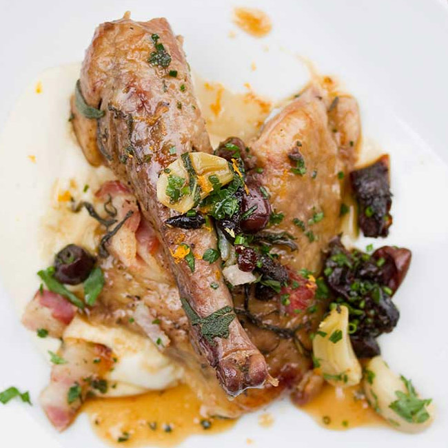 Braised Guinea Fowl with Olives, Thyme & Prunes