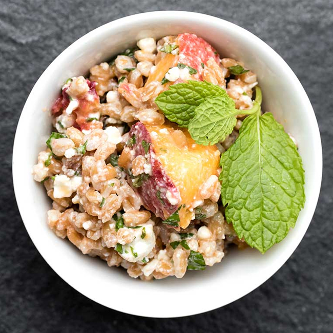 Farro Salad with Peaches & Feta