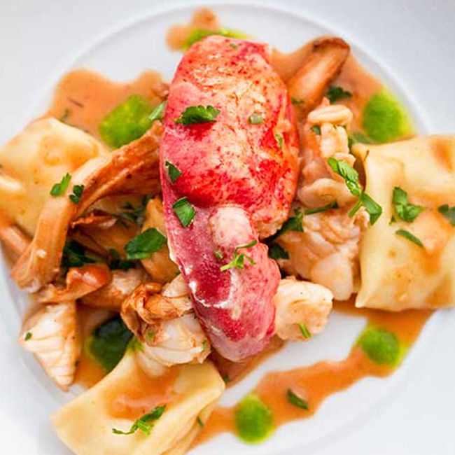 Parsnip Agnolotti with Lobster & Chanterelles