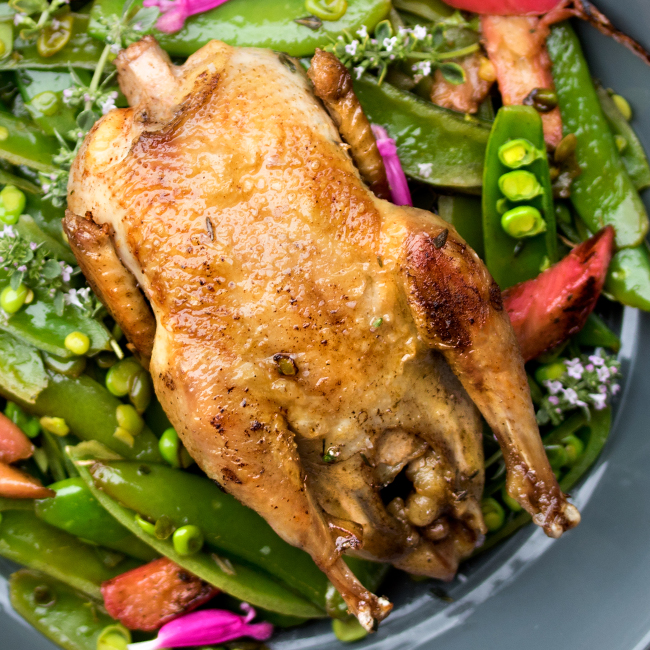 Partridge with Snap Peas