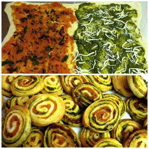 Pumpkin-Pesto Pizza Pinwheels