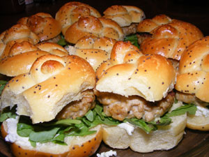 Chicken Burger Sliders with Boursin and Arugula