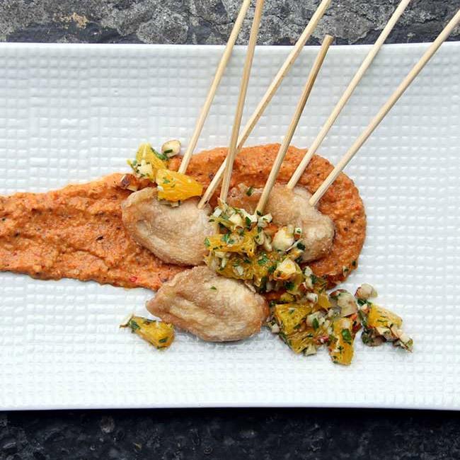 Quail Breasts with Romesco Sauce and Orange-Almond Gremolata