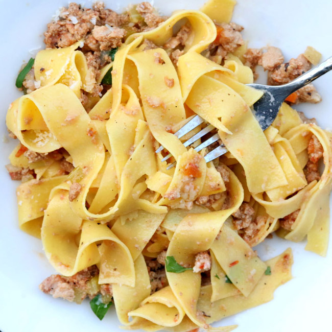 Rabbit Bolognese with Pappardelle