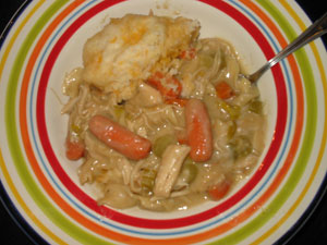 Hearty Cornish Game Hen Noodle Soup with Cheese Dumplings