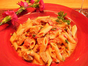 Creamy Sausage Penne with Tomato Vodka Sauce