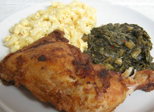 Fried Chicken, Greens and Mac n Cheese