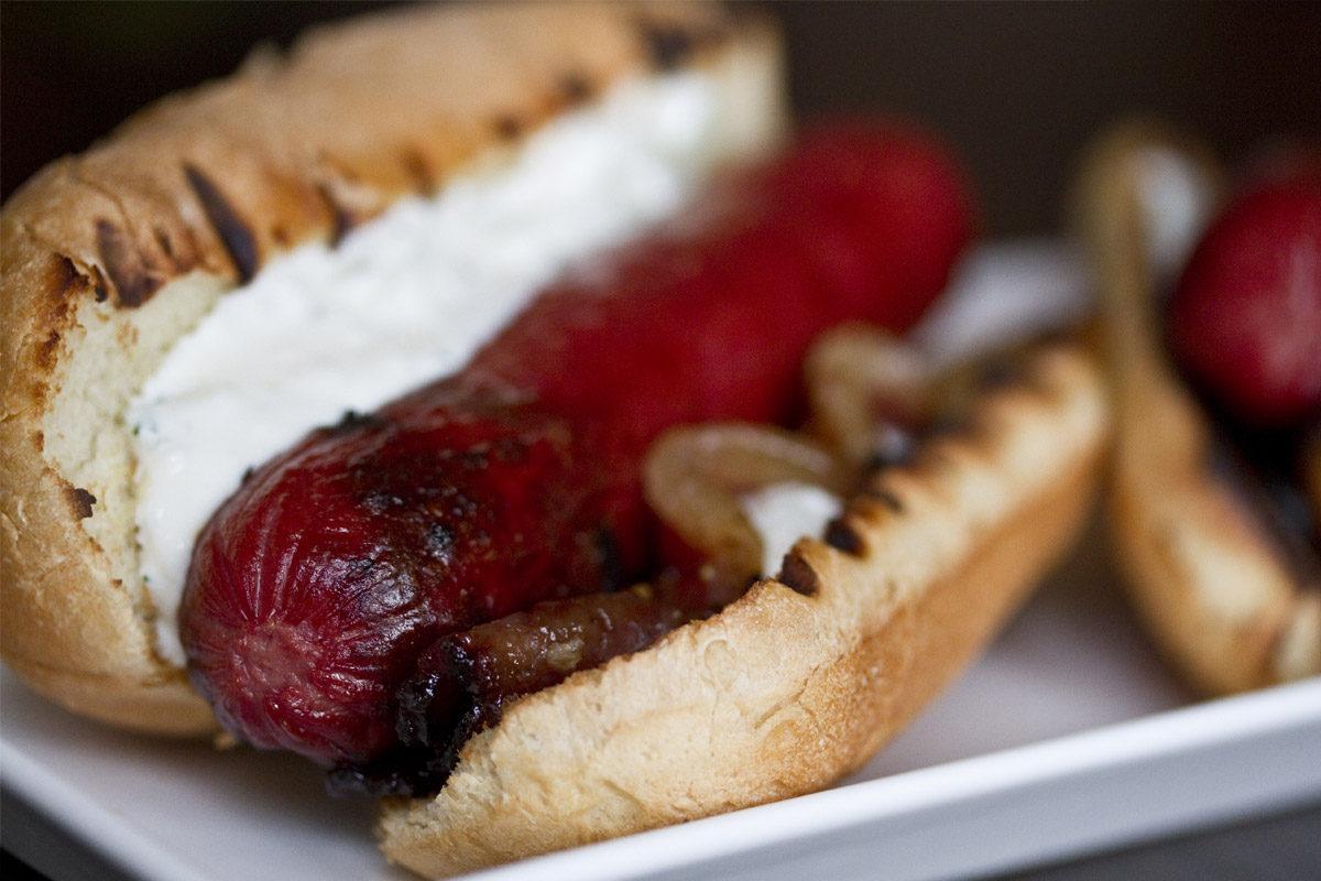 Kobe Hot Dogs with Peppered Bacon & Yogurt-Cucumber Sauce