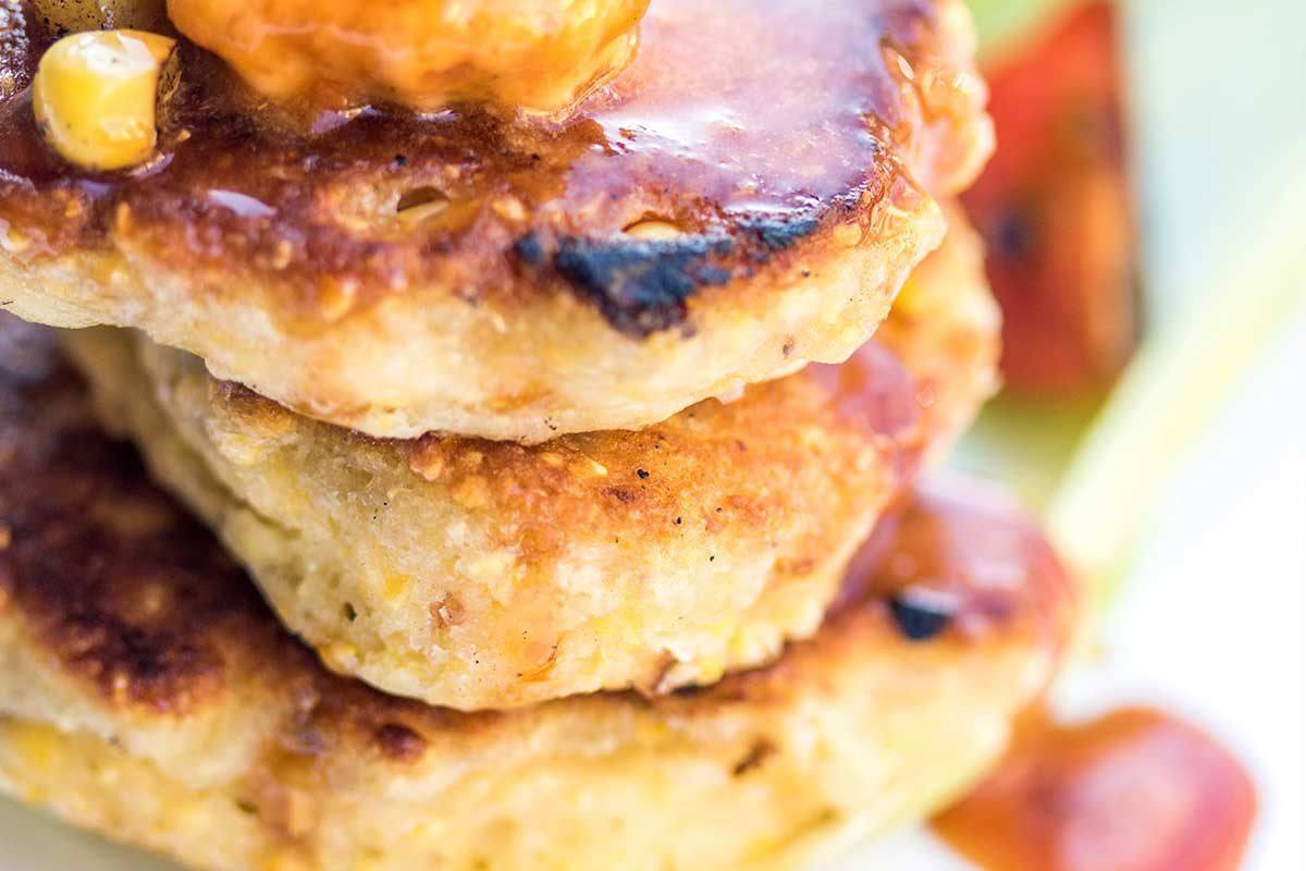 bacon, corn cakes with sorghum syrup