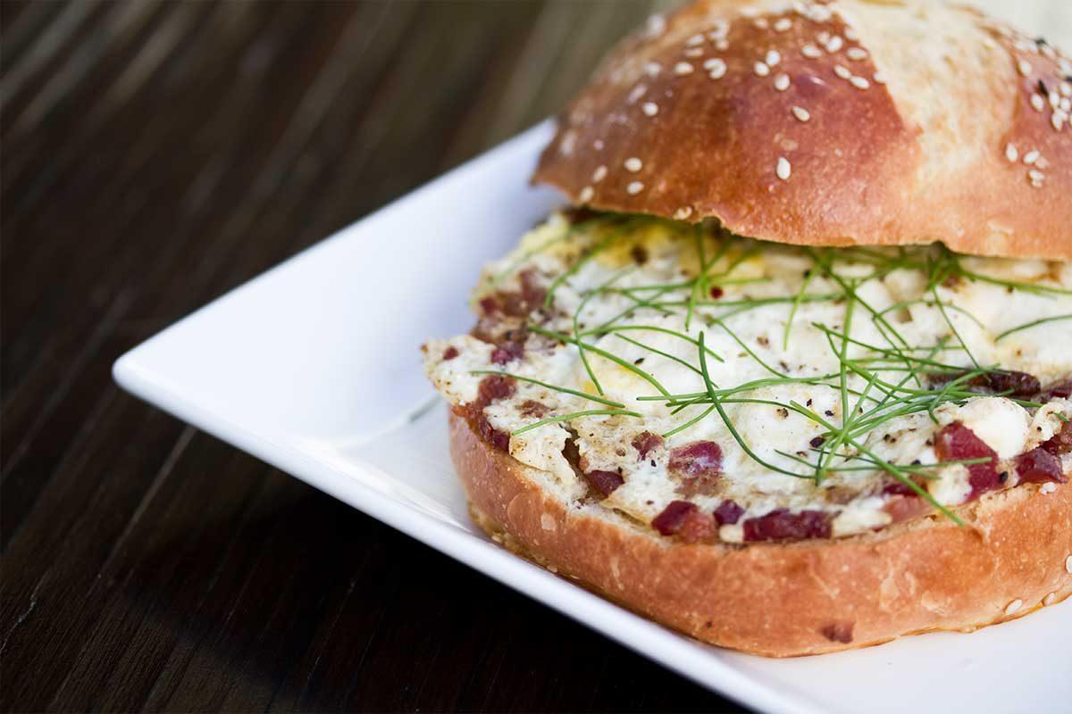Bacon & Quail Egg Sandwich