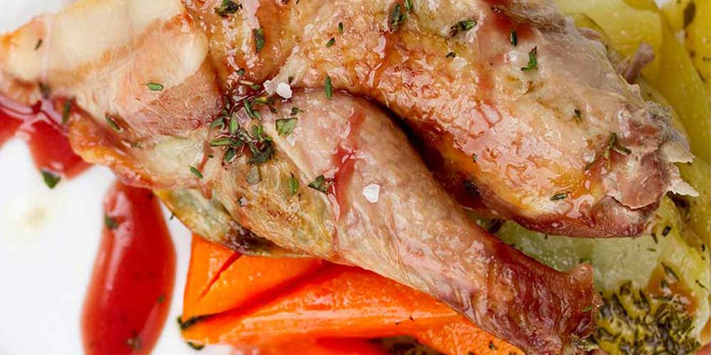 Bacon-Wrapped Roast Pheasant with Port Wine Sauce