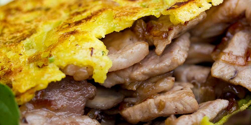 Bahn Xeo Crepes w/ Maitake Mushrooms & Kurobuta Pork
