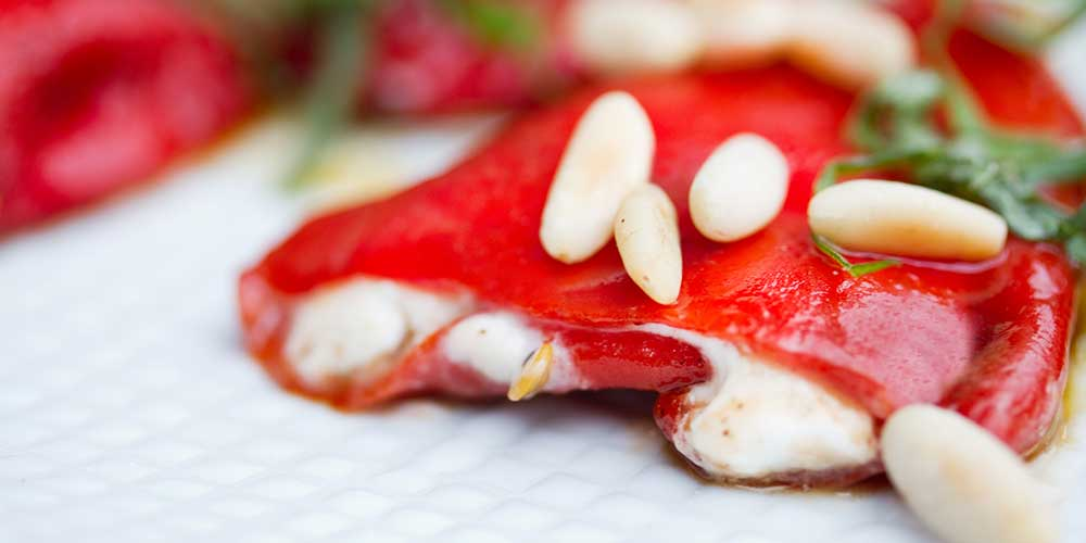 Basil & Goat Cheese Stuffed Piquillo Peppers
