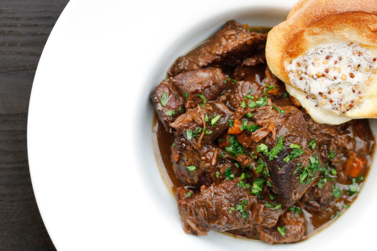 Beef Bourguignon with Honey-Mustard Popovers