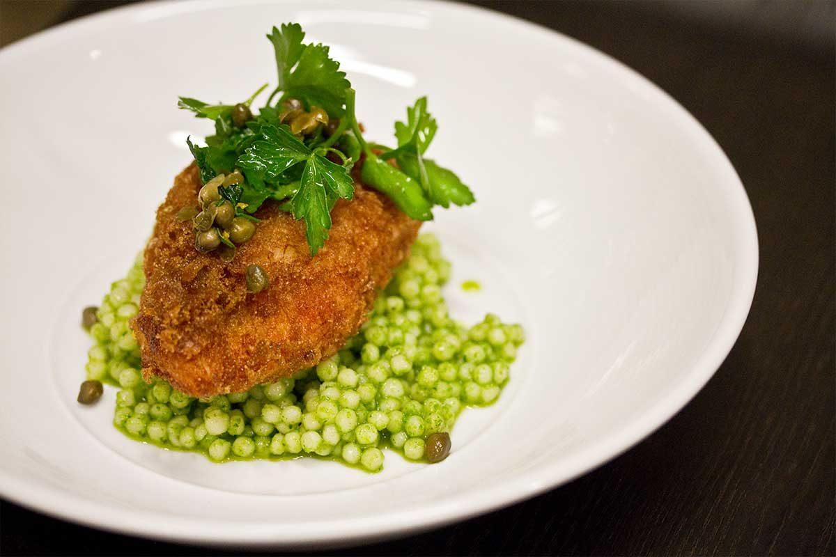 Fried Halibut Cheek Couscous