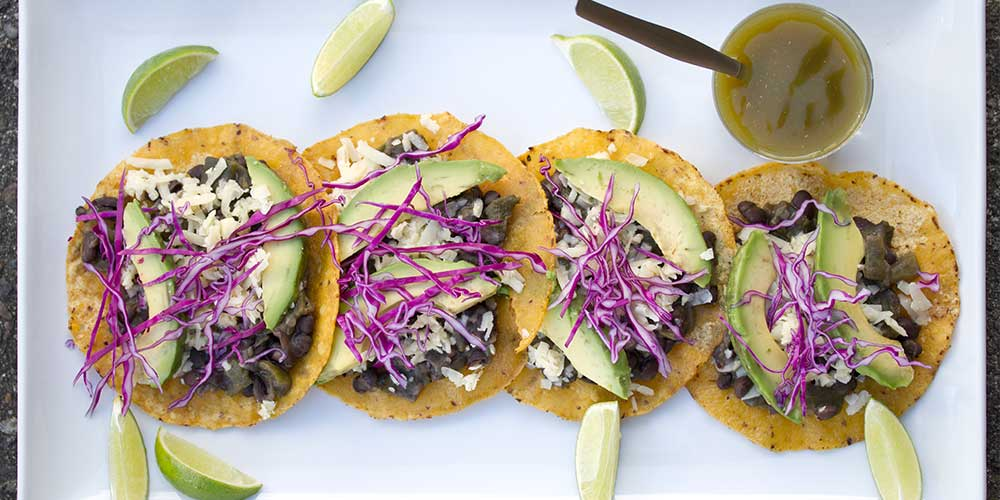 smoky black bean tostada
