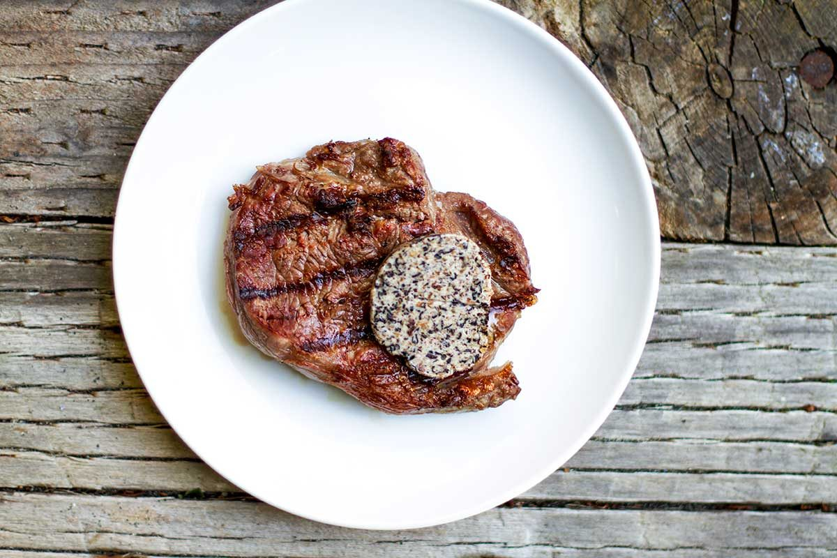 Black Garlic & Trumpet Mushroom Butter for Steaks