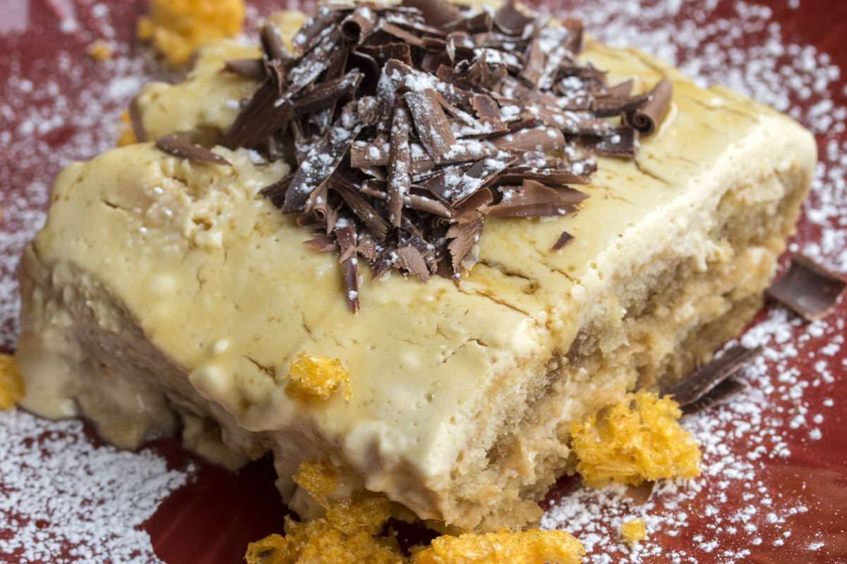 Bourbon Tiramisu with Orange Shards
