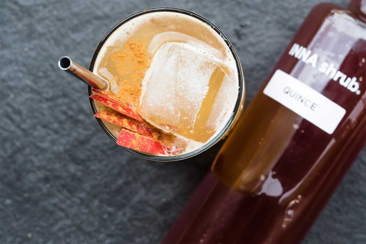 Bourbon Quince Shrub Cocktail