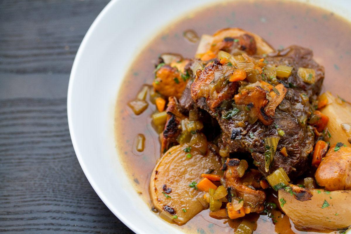 Braised Beef Cheeks with Chanterelles & Honeyed Baby Turnips