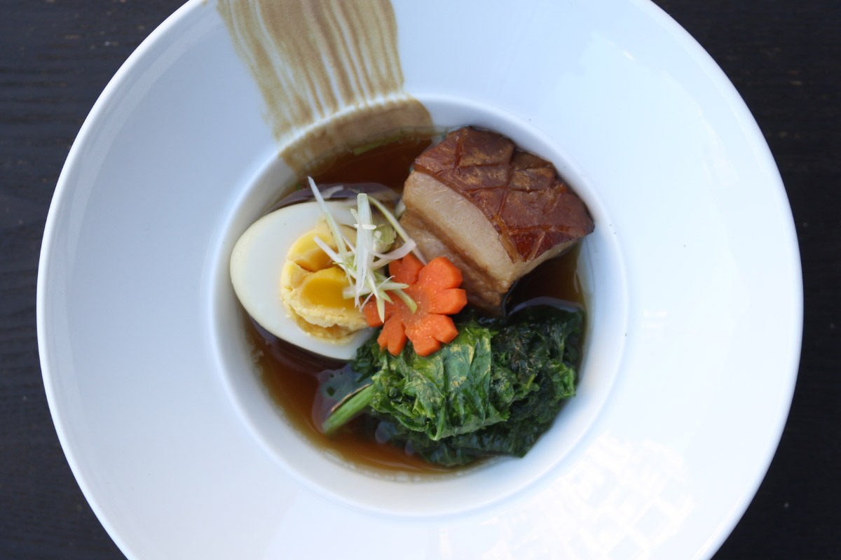 Japanese-Style Braised Iberico Pork Belly with Mustard Greens & Egg