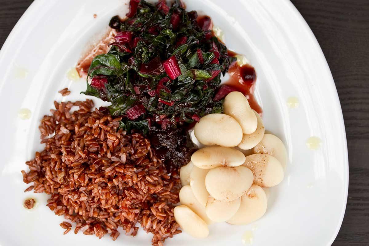 Cherry Chutney Chard Rice Beans