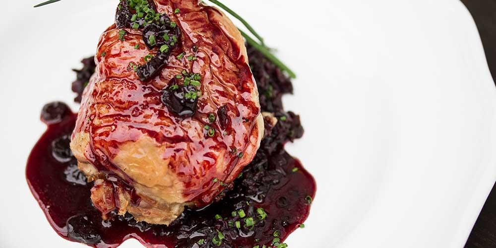Chestnut & Bacon Stuffed Duck Legs w/ Cranberry Glaze