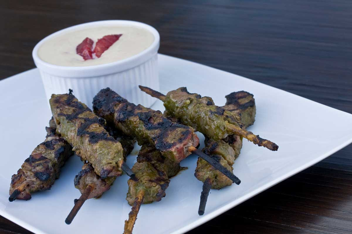 Chili Marinated Bison Kabobs with Citrus Aioli