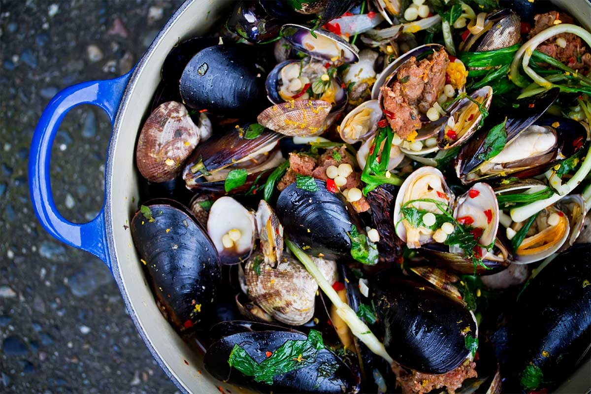 Clams, Mussels, Merguez & Fregola