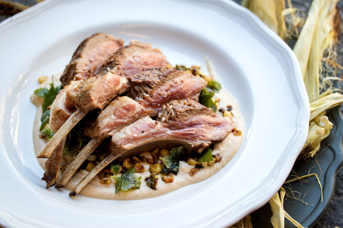 Coriander Lamb Racks with Corn 3 Ways