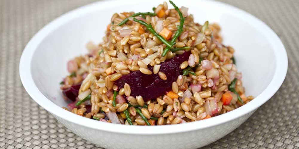Farro Salad with Roasted Beets, Sea Beans, Fennel & Chanterelles