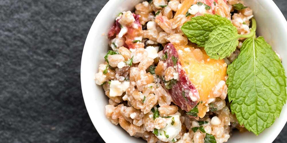 Farro Salad w/ Herbs, Feta & Peaches