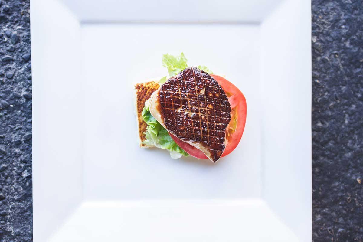 Foie Gras, Lettuce & Tomato Open Faced Sandwich