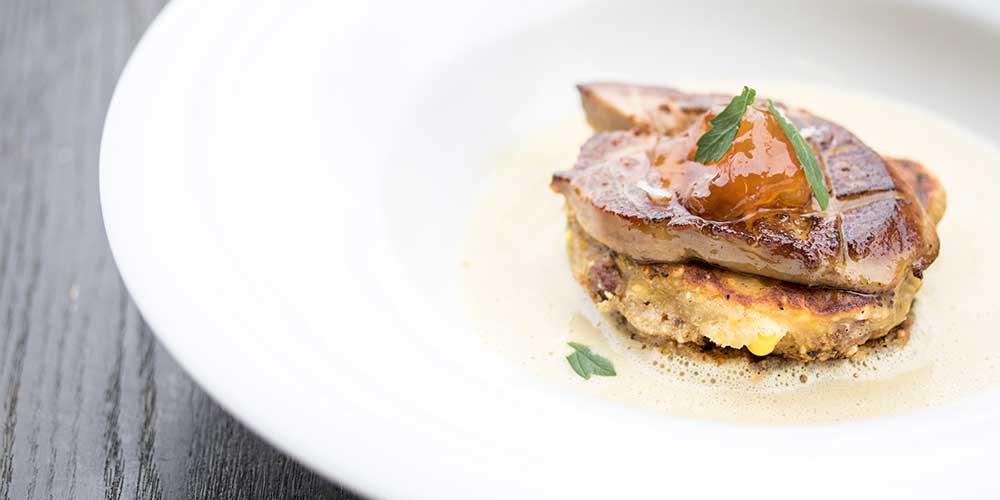 Foie Gras & Corn Cakes with Corn Sauce
