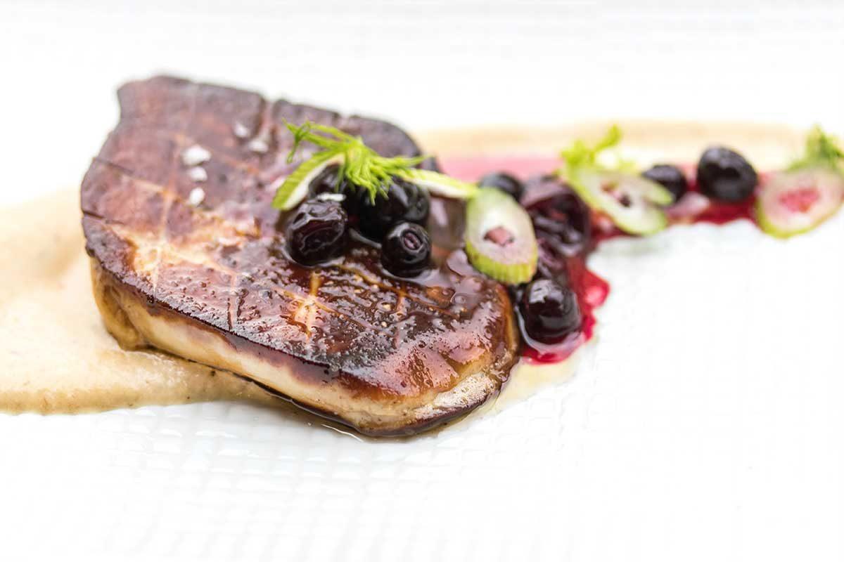 Foie Gras with Pickled Blueberries & Fennel-Leek Puree