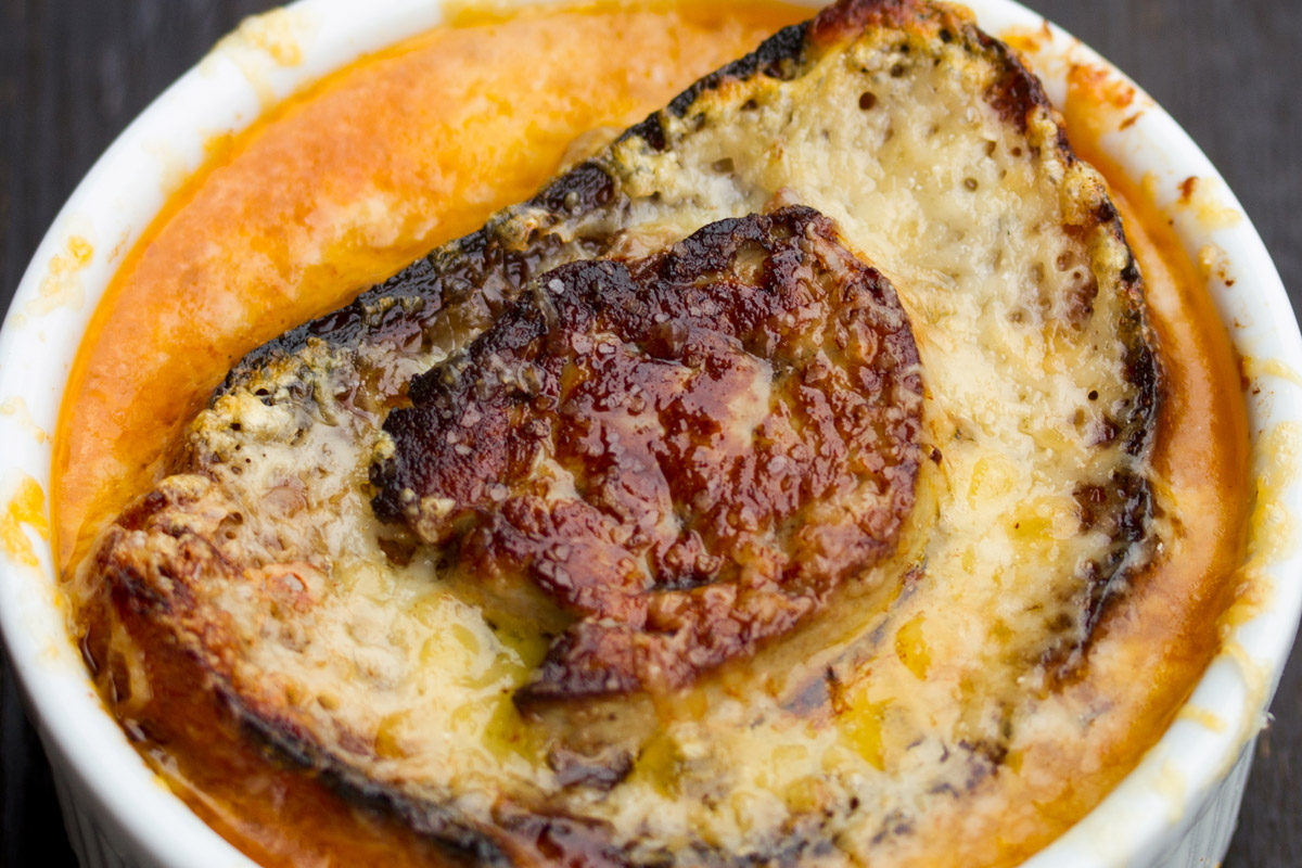 French Onion Soup with Foie Gras & Gruyere