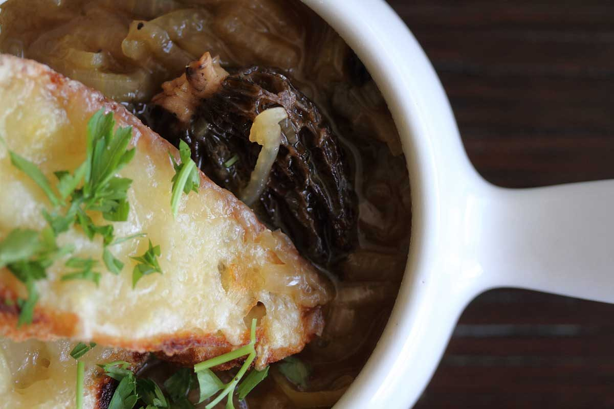 Vegetarian French Onion Morel Soup