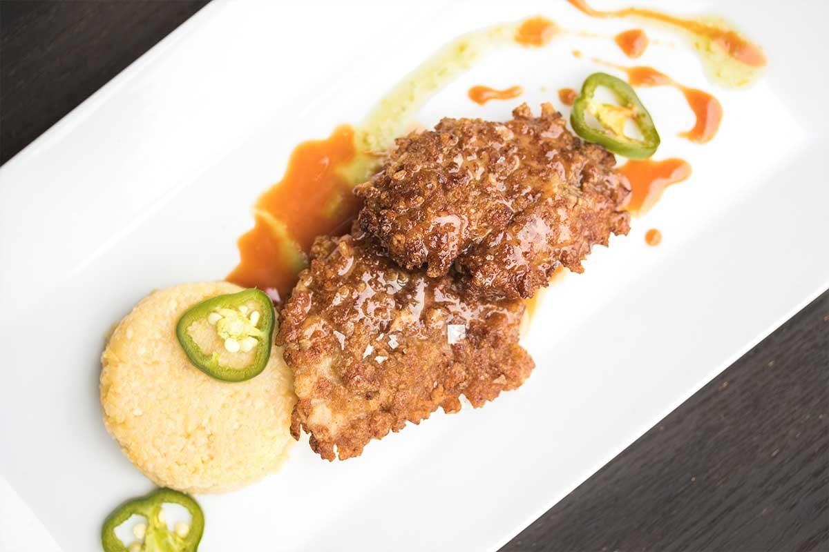 Fried Chicken Livers w/ Polenta Cakes & Sorghum