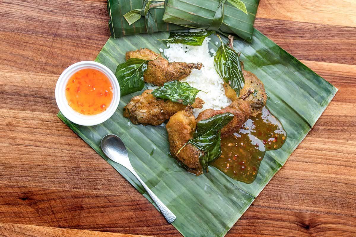 Fried Quail Legs, Coconut Rice