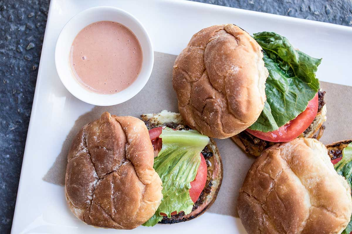 Grass-Fed Burgers w/ Cornichon Sauce
