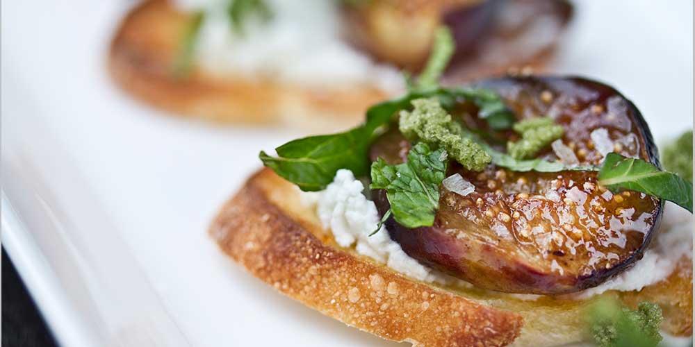 Goat Cheese, Mint & Roasted Fig Crostini