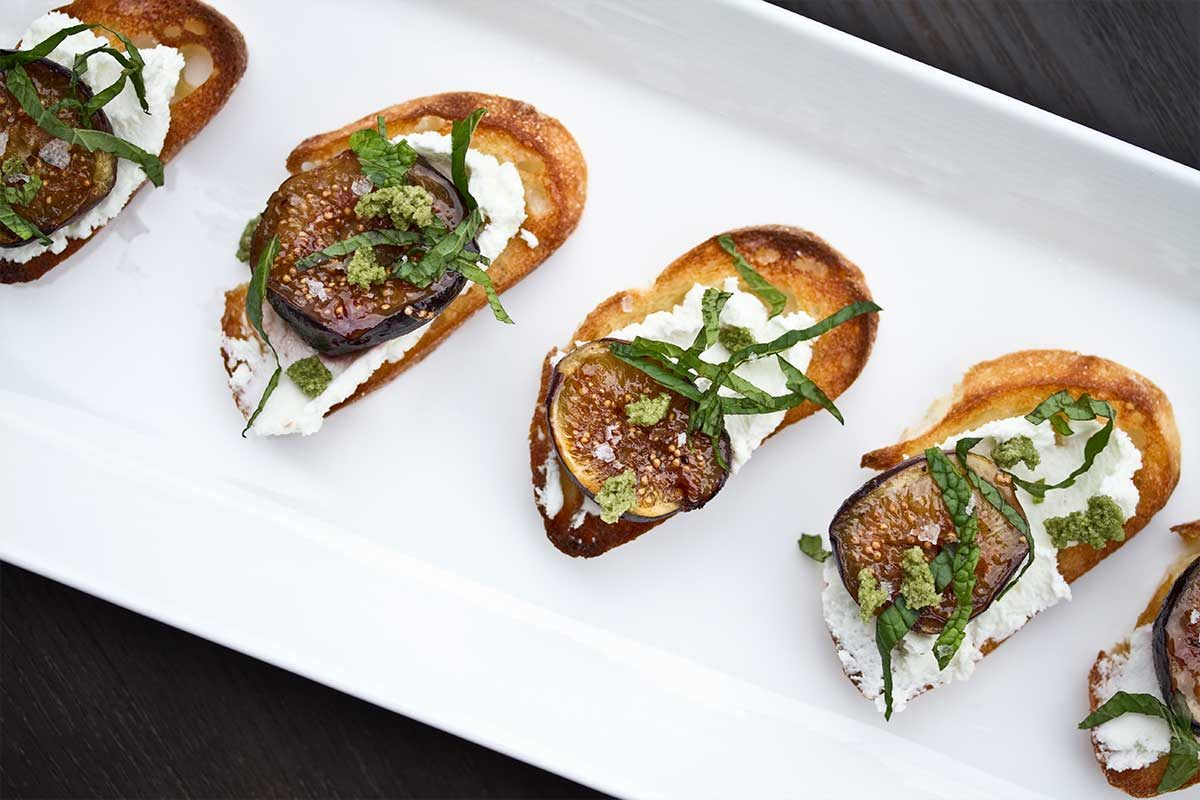 Goat Cheese, Mint & Roasted Fig Crostini