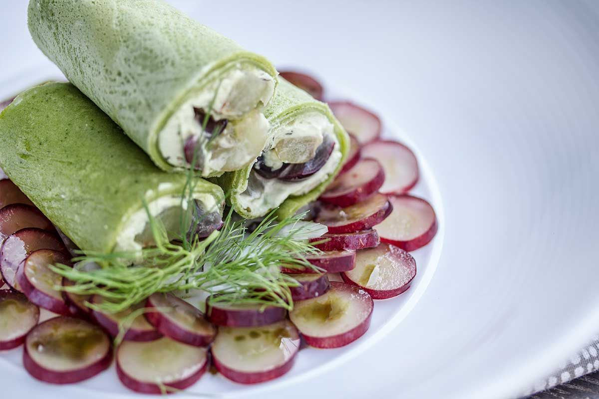 goat cheese wrap grape