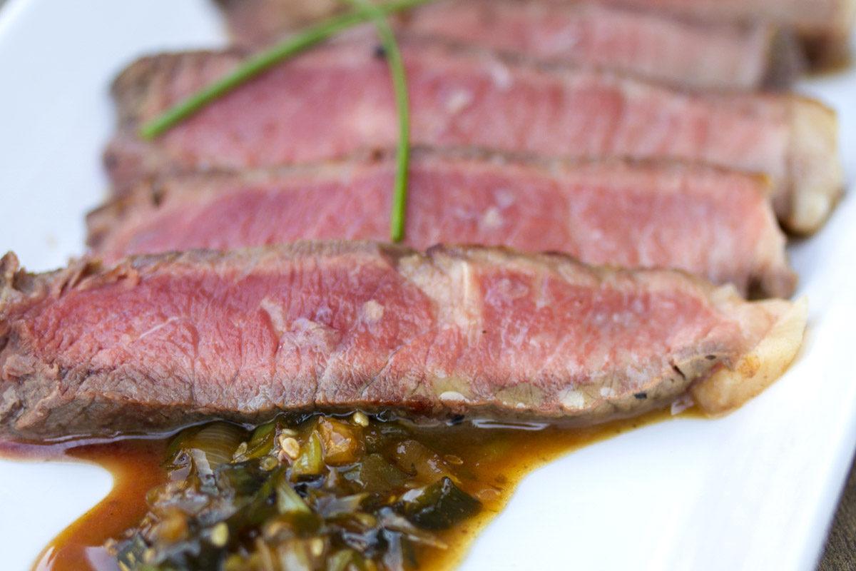 Grass-fed Strip Steaks w/ Caramel Sauce