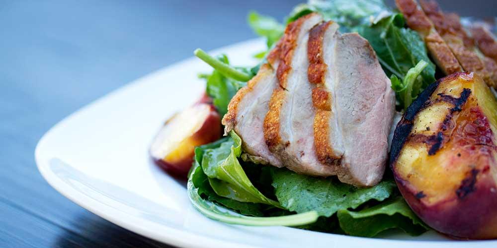 Grilled Peach & Duck Salad