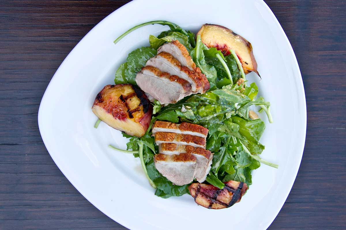 Grilled Peach Duck Salad