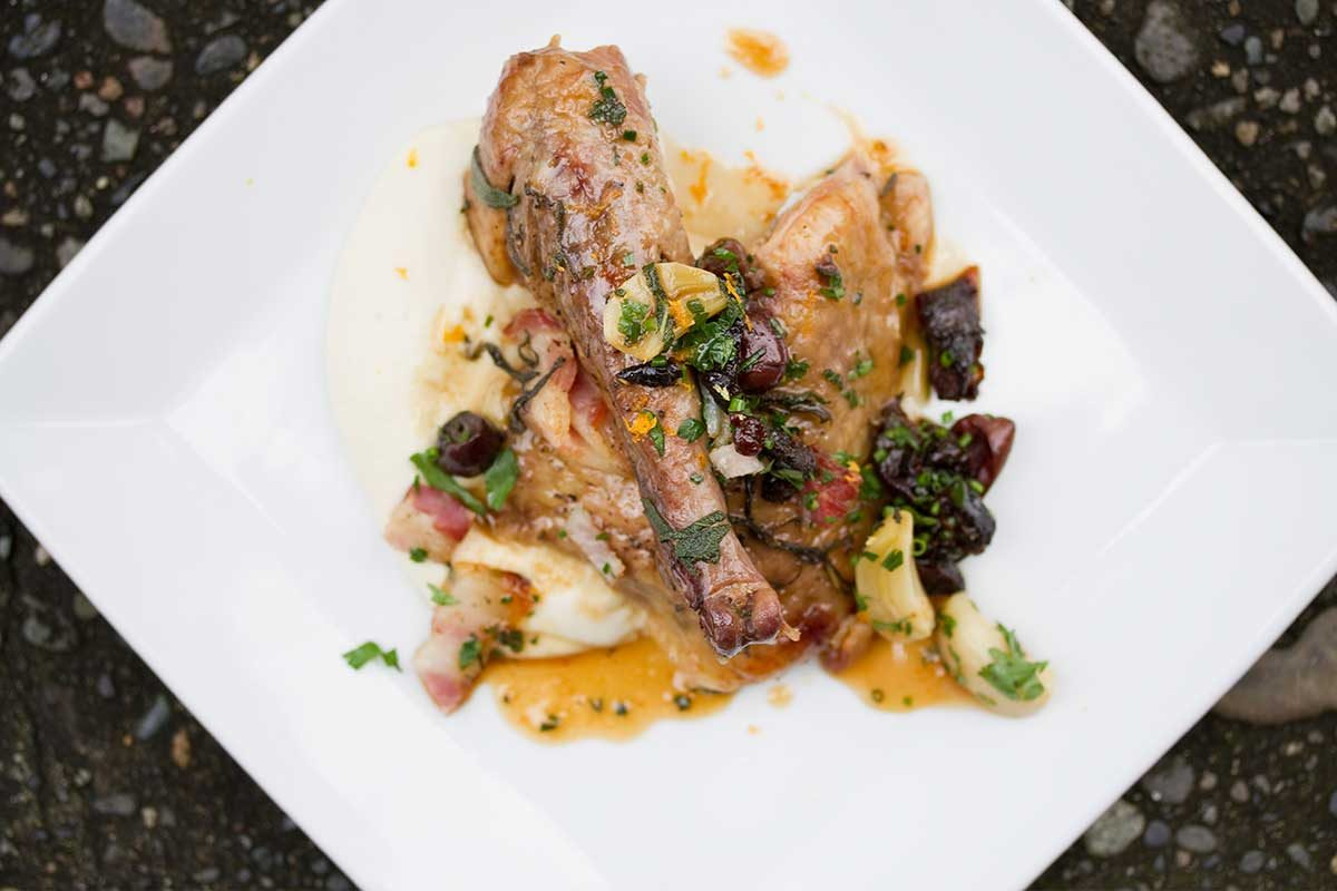 Braised Guinea Fowl w/ Olives, Thyme & Prunes