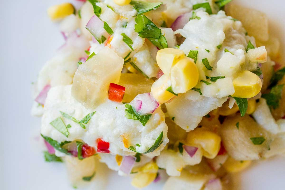 Halibut and Yuzu Ceviche with Yacon Root