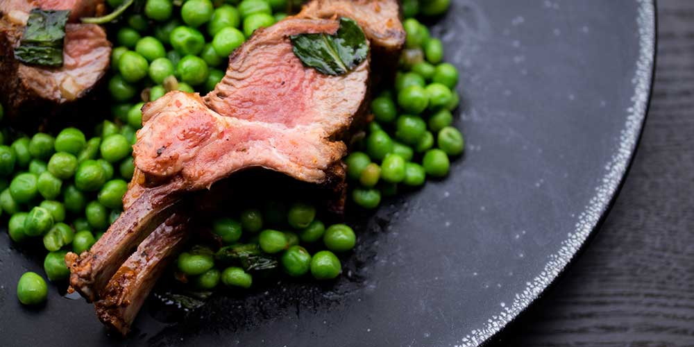 Harissa Rack of Lamb w/ Minted Peas